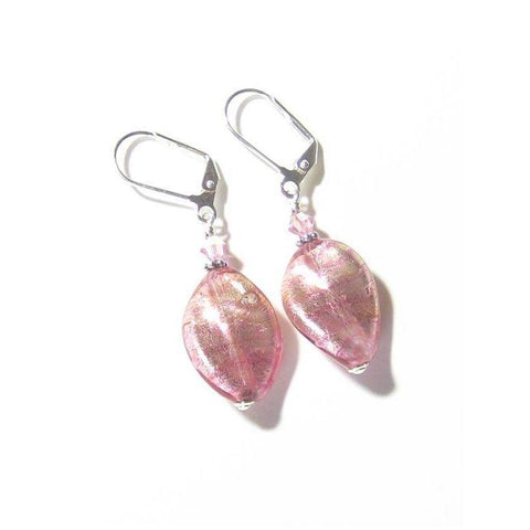 Italian Murano Glass Pink Twist Sterling Silver Earrings