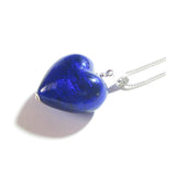 Murano Glass Cobalt Blue Puffy Heart Pendant, Italian Murano Glass Jewelry JKC Murano