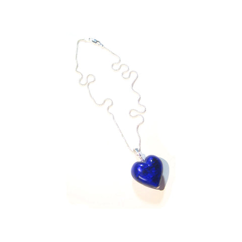 Gift Wrapped Crystal Necklace Cobalt Blue Fiorato 20mm Murano Glass Heart Sterling Silver Chain