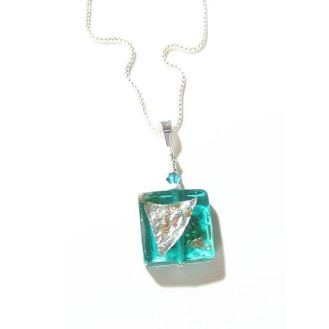 Murano Glass Sea Foam Square Abstract Pendant