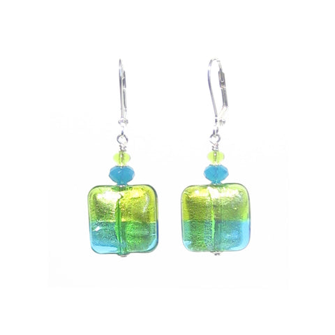 Italian Murano Colorful Green Square Silver Earrings JKC Murano