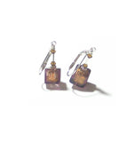 Murano Glass Brown Cube Sterling Silver Earrings JKC Murano