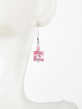 Murano Glass Pink Cube Sterling Silver Earrings, Italian Jewelry JKC Murano