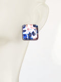 Murano Glass Blue Purple Chunky Square Post Earrings, Stud Earrings JKC Murano