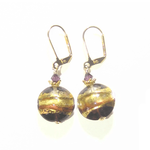 Murano Glass Amethyst Disc Gold Earrings by JKC Murano