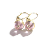Murano Glass Pale Amethyst Dangle Gold Earrings JKC Murano