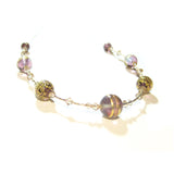 Murano Glass Amethyst Brown Ball Gold Necklace JKC Murano