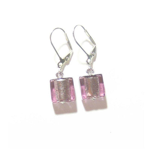 Murano Glass Light Purple Square Silver Earrings