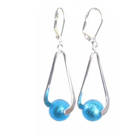 Murano Italian Glass Long Aqua Ball Drop Silver Earrings JKC Murano