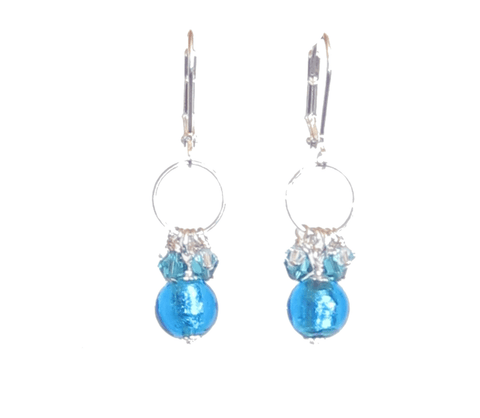 Murano Glass Aqua Crystal Dangle Sterling Silver Earrings JKC Murano