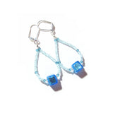 Murano Glass Aqua Cube Sterling Silver Earrings, Hoop Earrings - JKC Murano