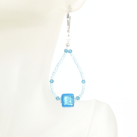 Murano Glass Aqua Cube Sterling Silver Earrings, Hoop Earrings JKC Murano