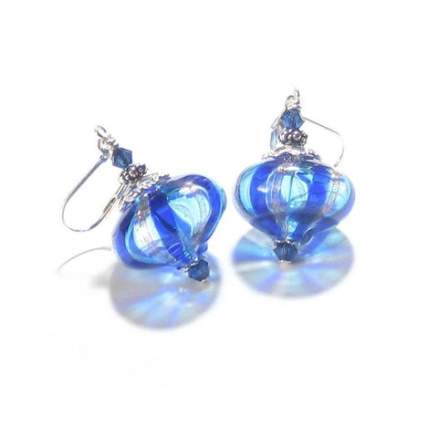 Murano Blown Glass Cobalt Blue Aqua Stripes Cipollina Earrings