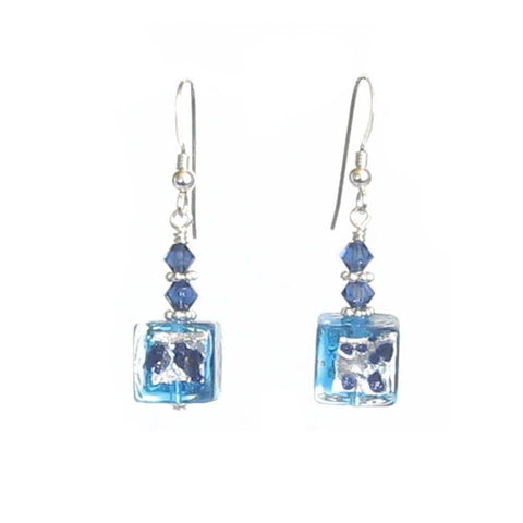 Murano Glass Aqua Blue Leopard Cube Sterling Silver Earrings