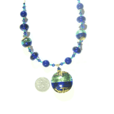 Murano Glass Aqua Cobalt Blue Disc Pendant Gold Necklace - JKC Murano