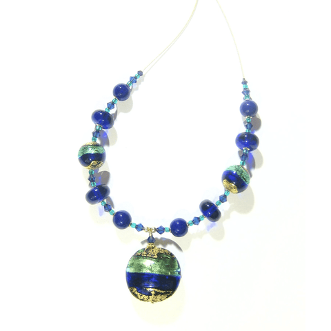 Murano Glass Aqua Cobalt Blue Disc Pendant Gold Necklace