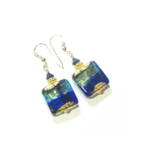 Murano Glass Cobalt Blue Aqua Chunky Square Gold Earrings