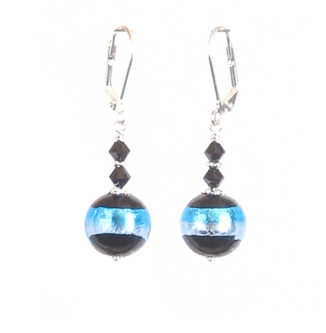 Italian Glass Black Aqua Striped Silver Earrings, Sterling Silver Posts JKC Murano