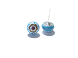 Millefiori Aqua Small Sterling Silver Post Earrings, Stud JKC Murano
