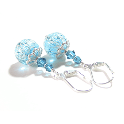 Murano Glass Aqua Ball Dangle Silver Earrings JKC Murano