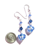Murano Glass Long Blue Heart Silver Earrings JKC Murano
