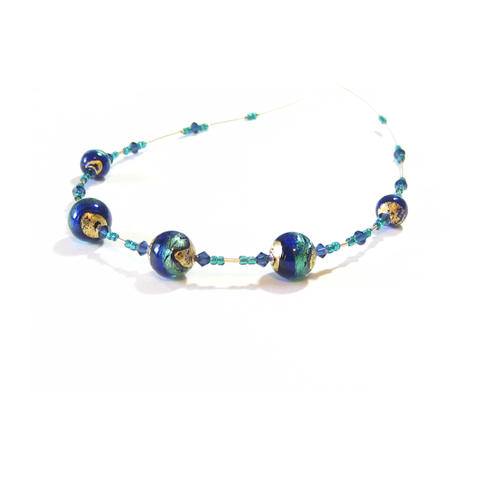 Murano Glass Cobalt Blue Aqua Ball Gold Necklace