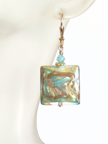 Murano Glass Aqua Copper Square Leverback Gold Earrings JKC Murano