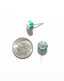 Millefiori Aqua Daisy Small Sterling Silver Post Earrings, Studs JKC Murano