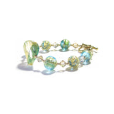 Murano Glass Aqua Green Gold Toggle Bracelet JKC Murano