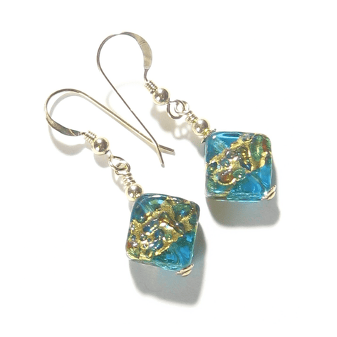 Murano Glass Colorful Aqua Diamond Gold Earrings JKC Murano