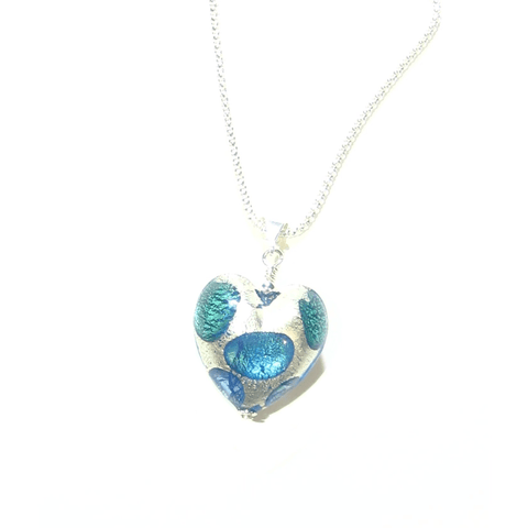 Murano Glass Aqua Green Blue Dot Heart Pendant, Italian Glass Jewelry - JKC Murano