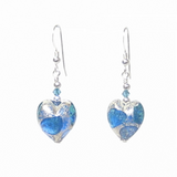 Murano Glass Aqua Blue Dot Heart Silver Earrings - JKC Murano