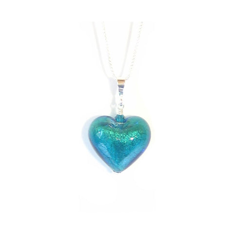 Murano Glass Aqua Green Heart Pendant, Italian Glass Jewelry JKC Murano