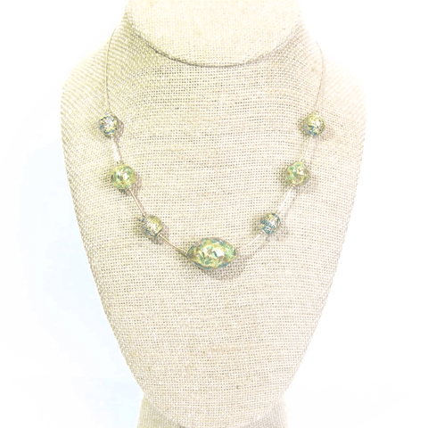 Murano Glass Sea Green Gold Necklace, Illusion Style