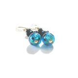 Murano Glass Aqua Black Leopard Ball Dangle Gold Earrings JKC Murano