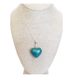Murano Glass Aqua Green Puffy Heart Pendant, Italian Jewelry