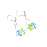 Murano Glass Aqua Lime Green Cube Trapeze Sterling Silver Earrings - JKC Murano