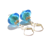 Murano Glass Aqua Bi-cone Gold Earrings, Leverback Earrings JKC Murano
