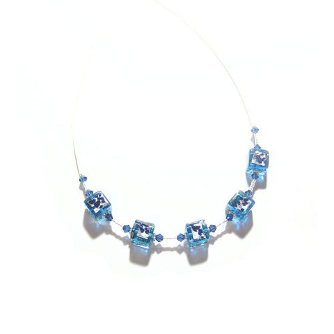 Murano Glass Aqua Leopard Cube Illusion Silver Necklace