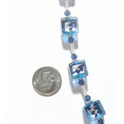 Aqua Murano Glass Cube and Crystal Cube Necklace