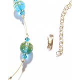 Murano Glass Aqua Ball Illusion Gold Necklace - JKC Murano