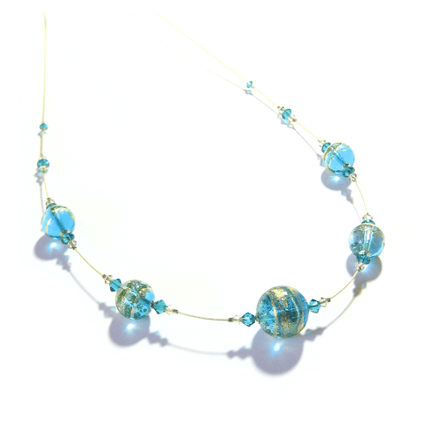 Murano Glass Aqua Ball Illusion Gold Necklace