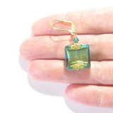 Murano Glass Aqua Olive Green Square Dangle Gold Earrings, Leverback Earrings