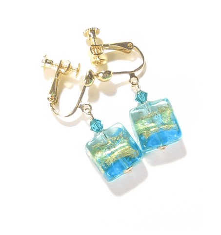 Murano Glass Aqua Square Gold Earrings, Clip-Ons JKC Murano