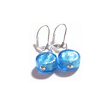 Murano Glass Aqua Coin Silver Earrings, Leverback Earrings JKC Murano