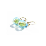 Murano Glass Aqua Saturn Rings Gold Earrings JKC Murano