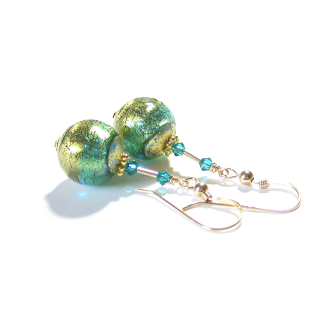 Murano Glass Aqua Olive Green Gold Earrings, Dangle Clip Earrings