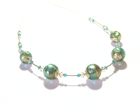 Murano Glass Aqua Green Ball Gold Necklace JKC Murano
