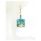 Murano Glass Aqua Olive Green Square Dangle Gold Earrings, Leverback Earrings JKC Murano