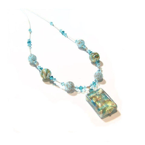 Murano Glass Aqua Swirl Rectangle Pendant Gold Necklace, Venetian Glass Jewelry